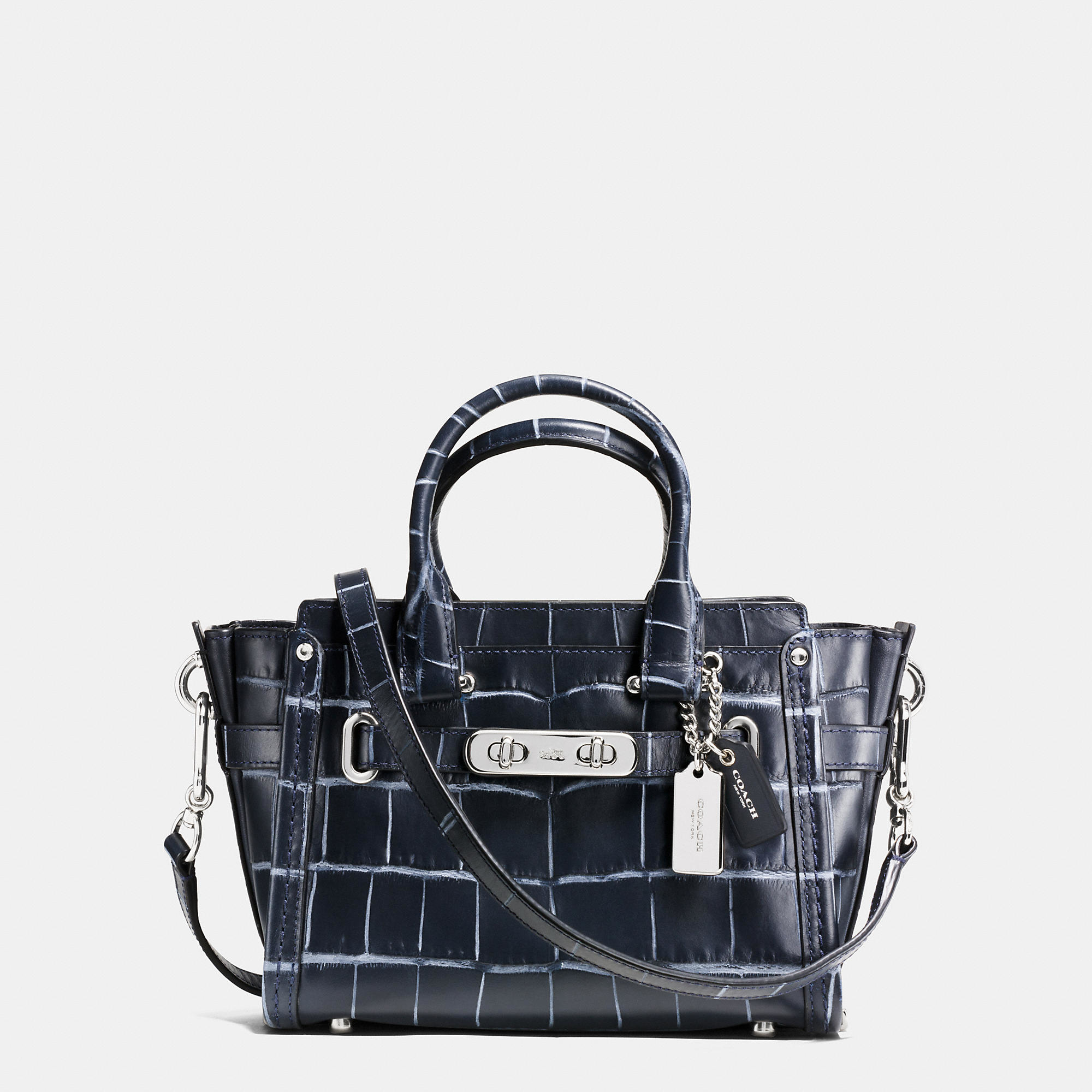 Coach Swagger 20 In Croc Embossed Denim Leather In Silver