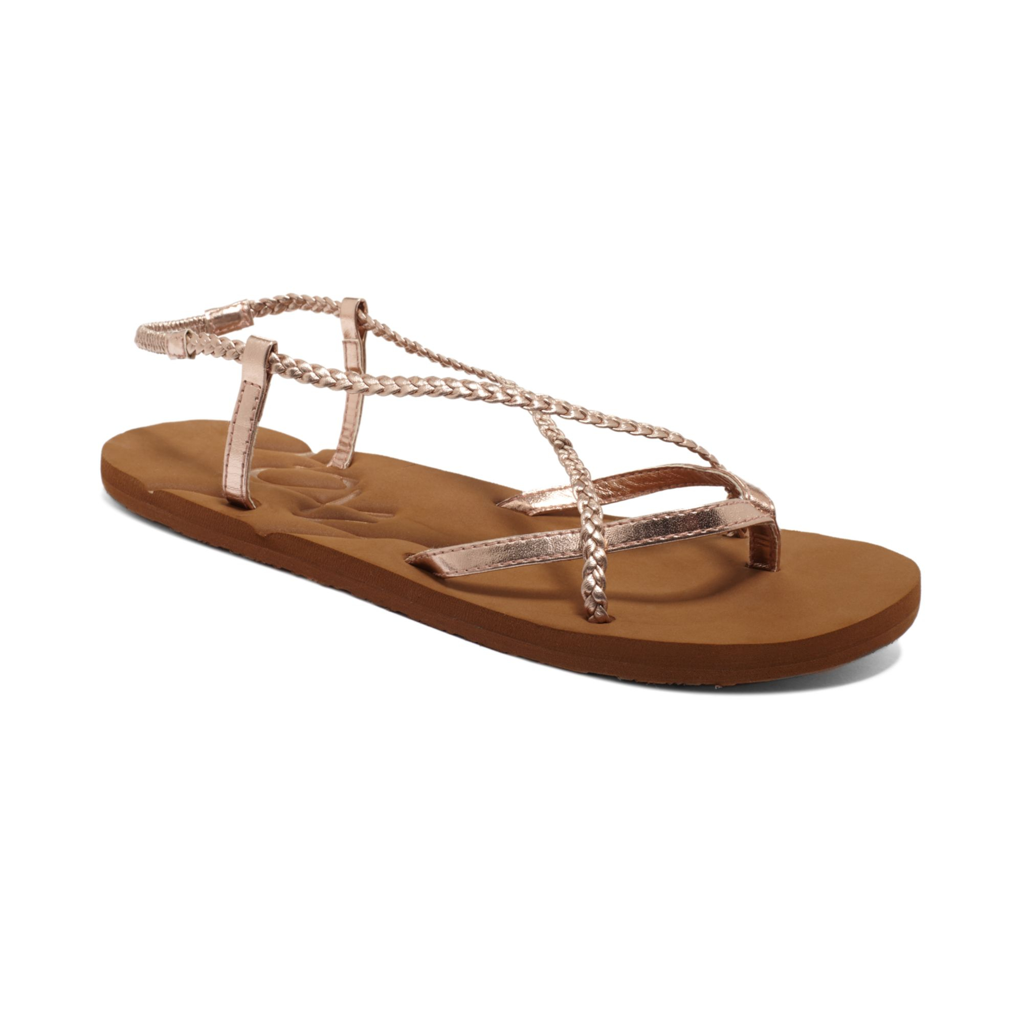 Lyst Roxy Quinta Strappy Flat Sandals In Pink