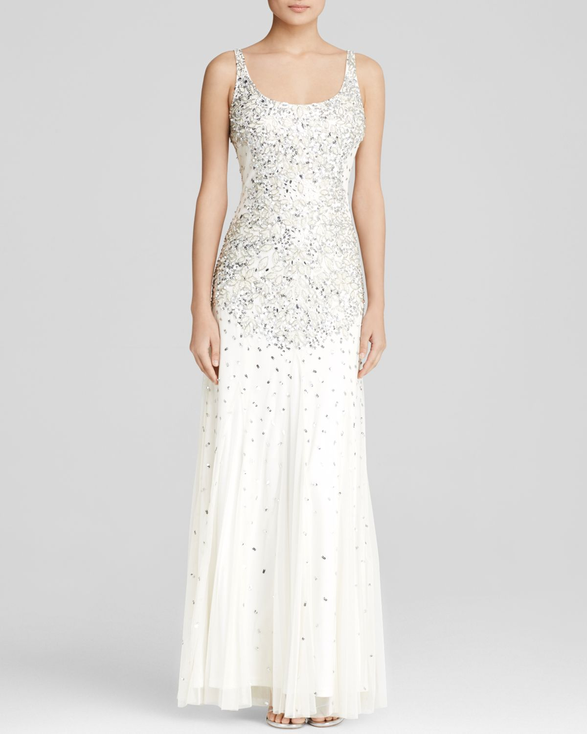 Lyst - Adrianna Papell Gown - Scoop Neck Beaded Mesh in White