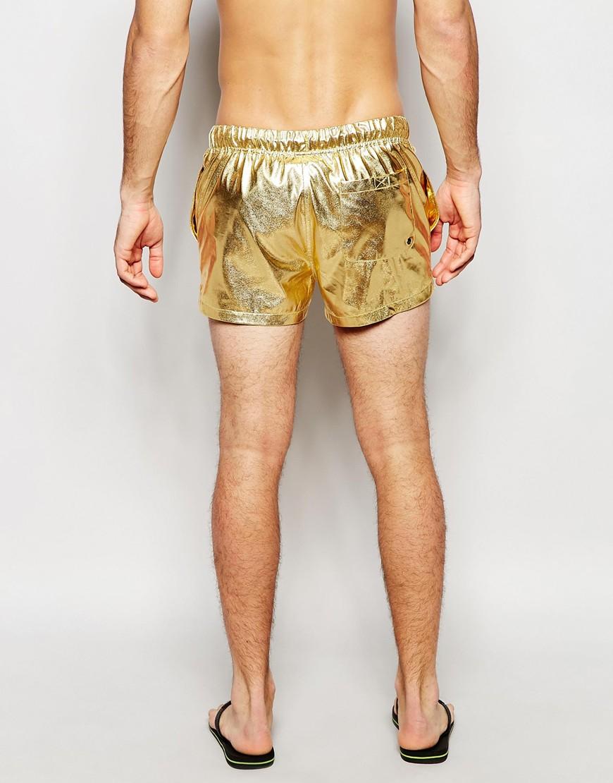 eabc76d4d2 ASOS Swim Shorts In Metallic Gold Short Length in Metallic for Men ...