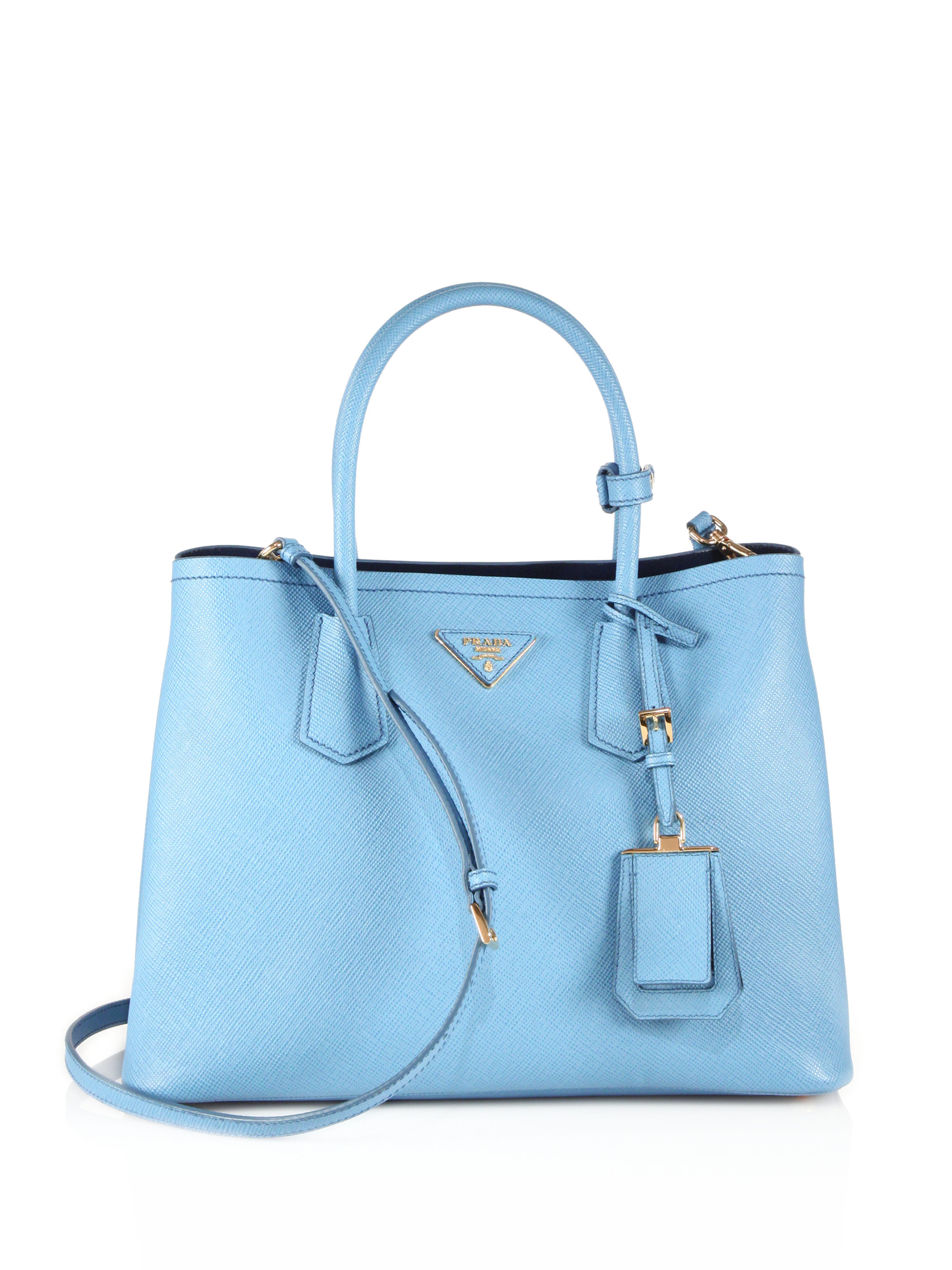 prada saffiano cuir twin bag tote blue handbag