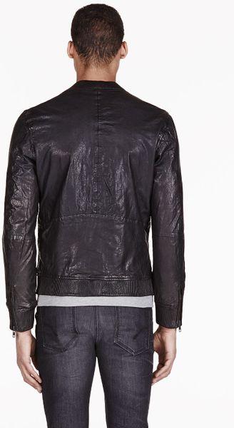 Diesel Black Leather Bomber Ajuga Jacket In Black For Men