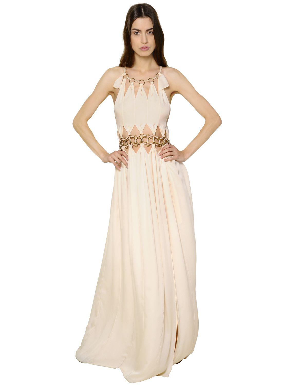 Lyst Chlo 233 Metal Rings Silk Georgette Dress In Pink