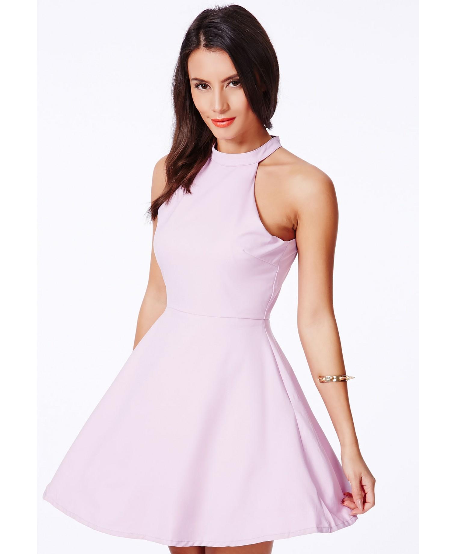 Missguided Adelia Halterneck Skater Dress In Lilac in Purple - Lyst 36b01cb89