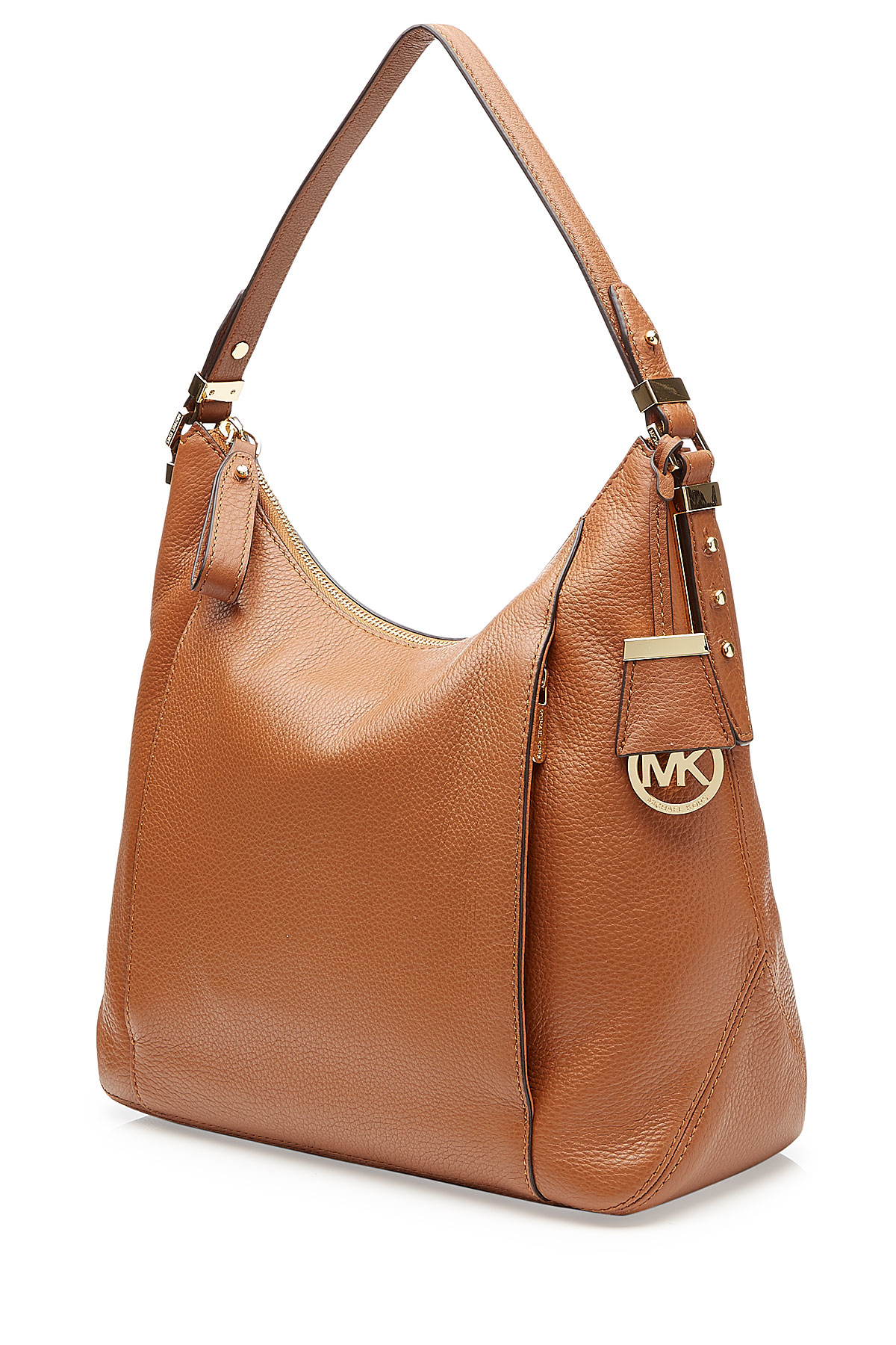michael michael kors bowery large hobo leather tote brown in brown lyst. Black Bedroom Furniture Sets. Home Design Ideas