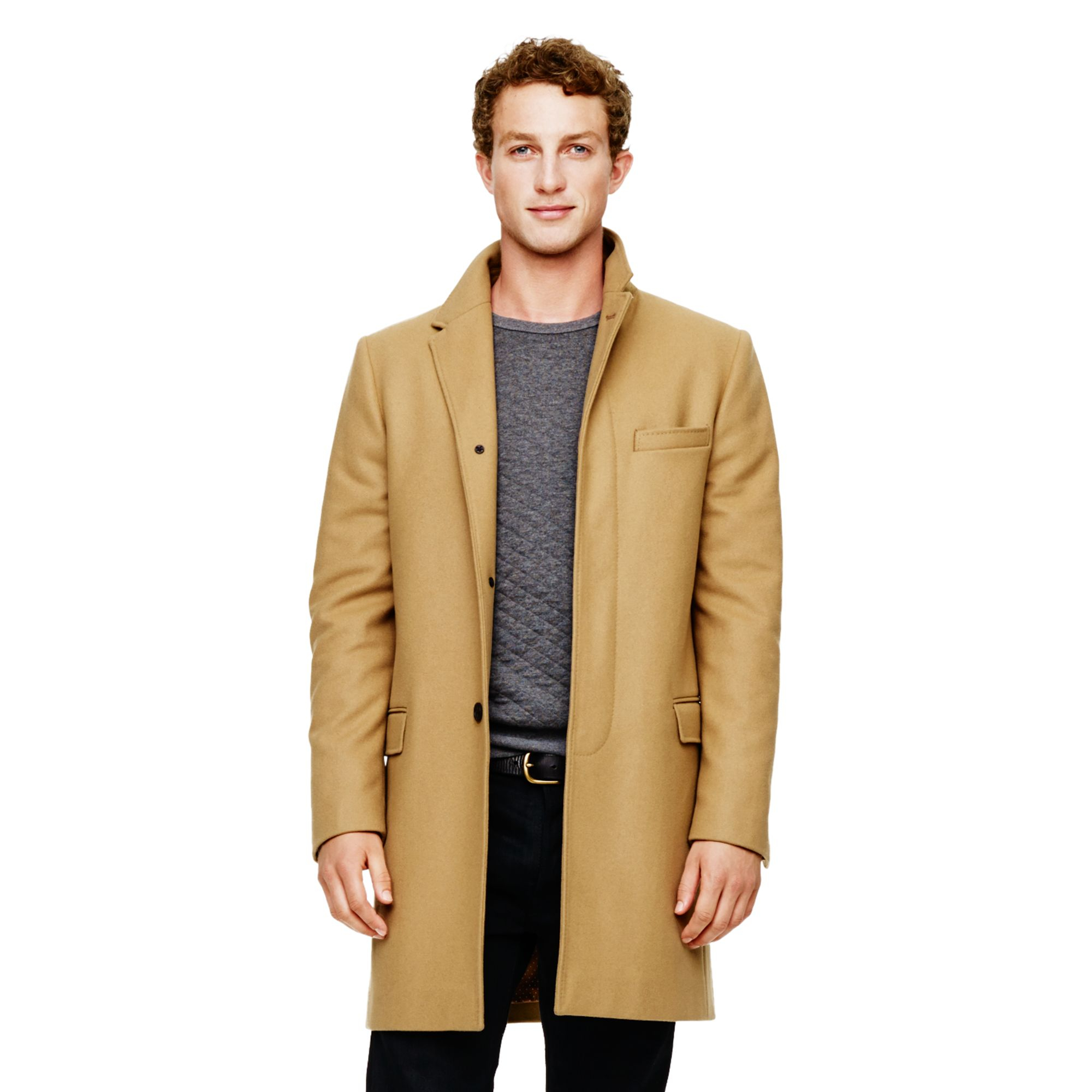 Club monaco Wool Top Coat in Natural for Men | Lyst