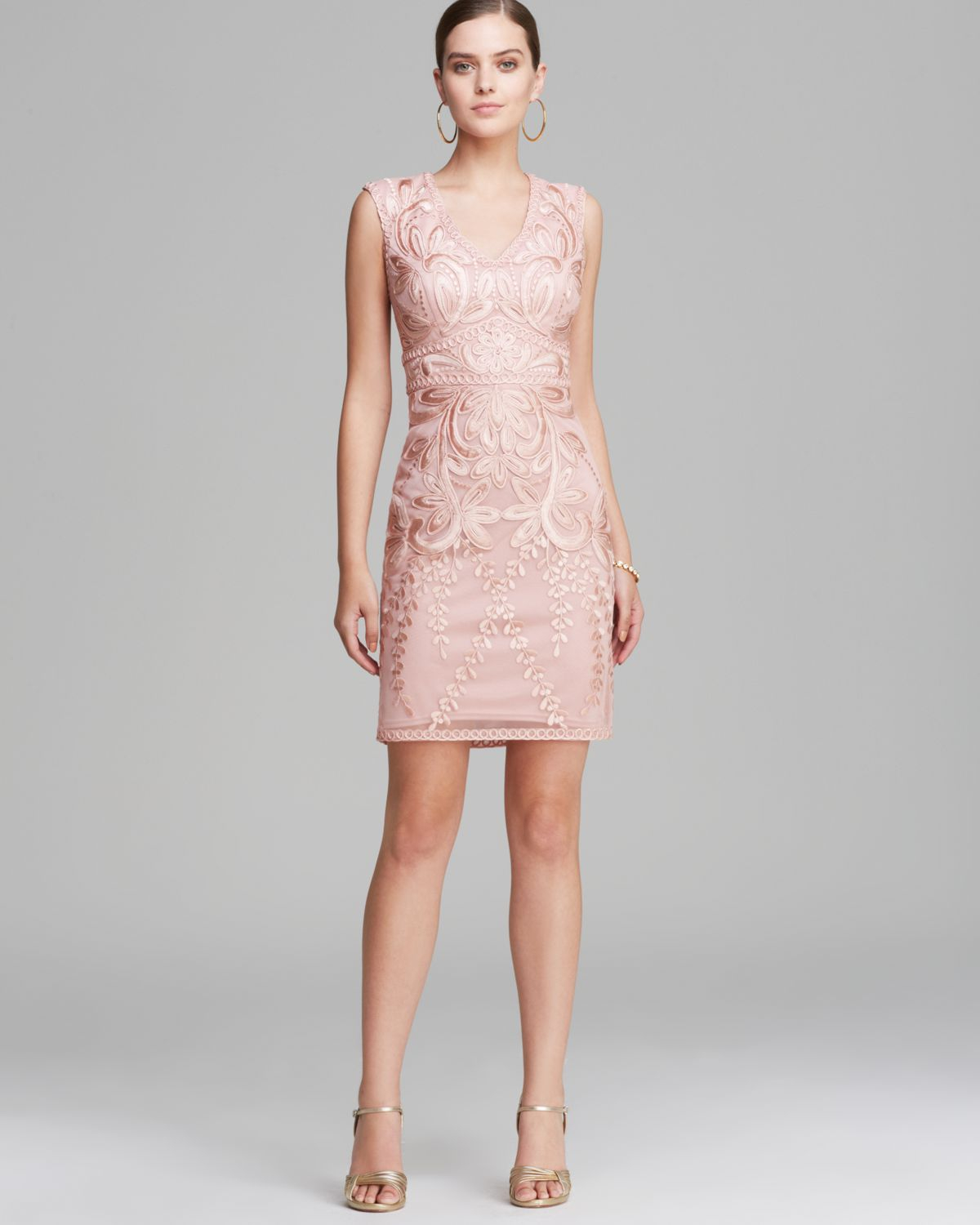 Lyst sue wong dress cap sleeve v neck in pink gallery ombrellifo Images