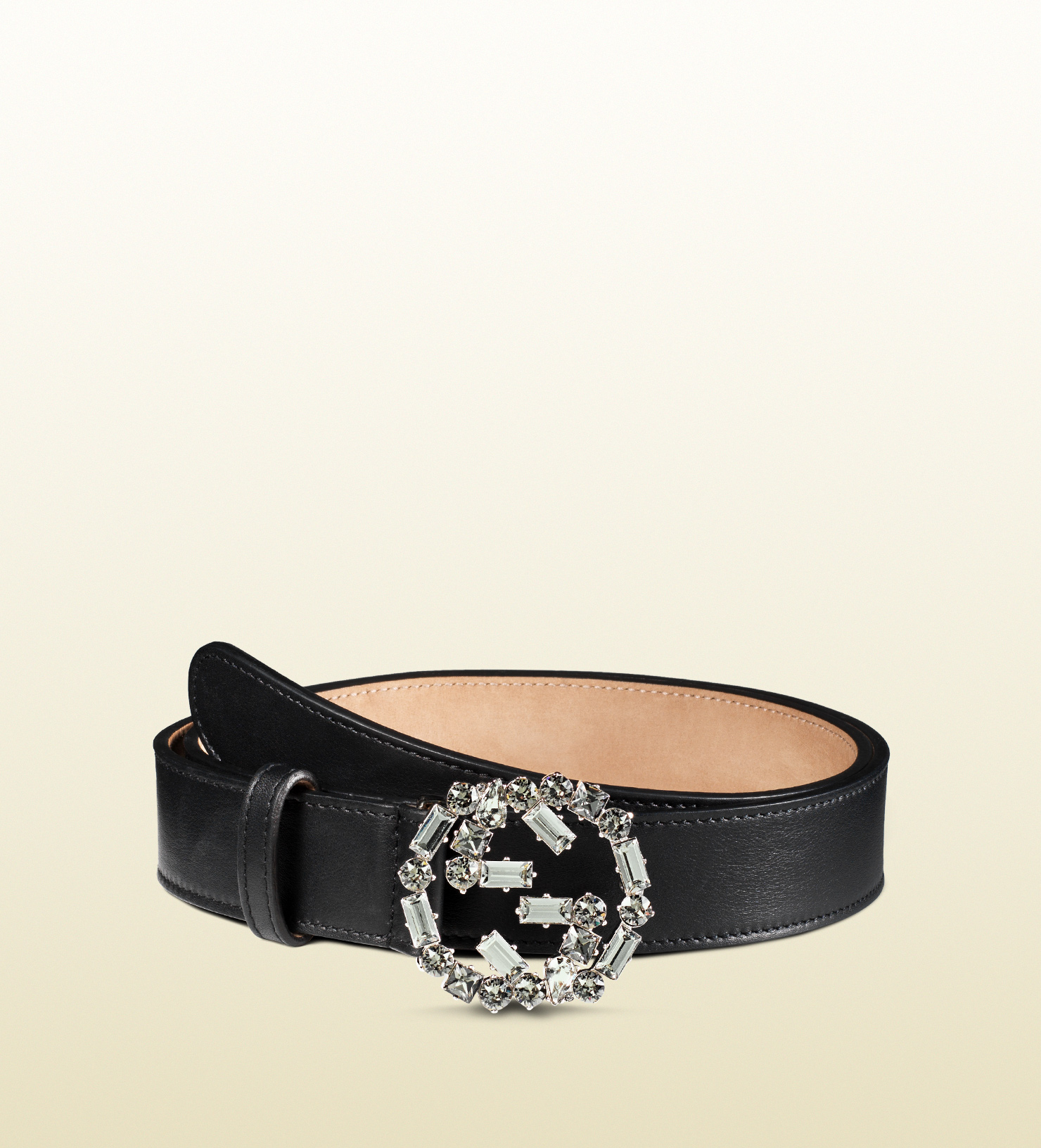 d44a87b120b Lyst - Gucci Leather Belt With Crystal Interlocking G Buckle in ...