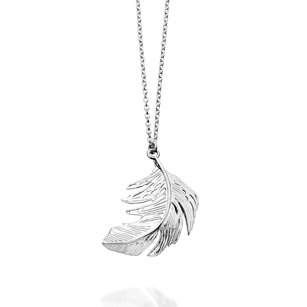 Alex Monroe Silver Feather Necklace in Metallic