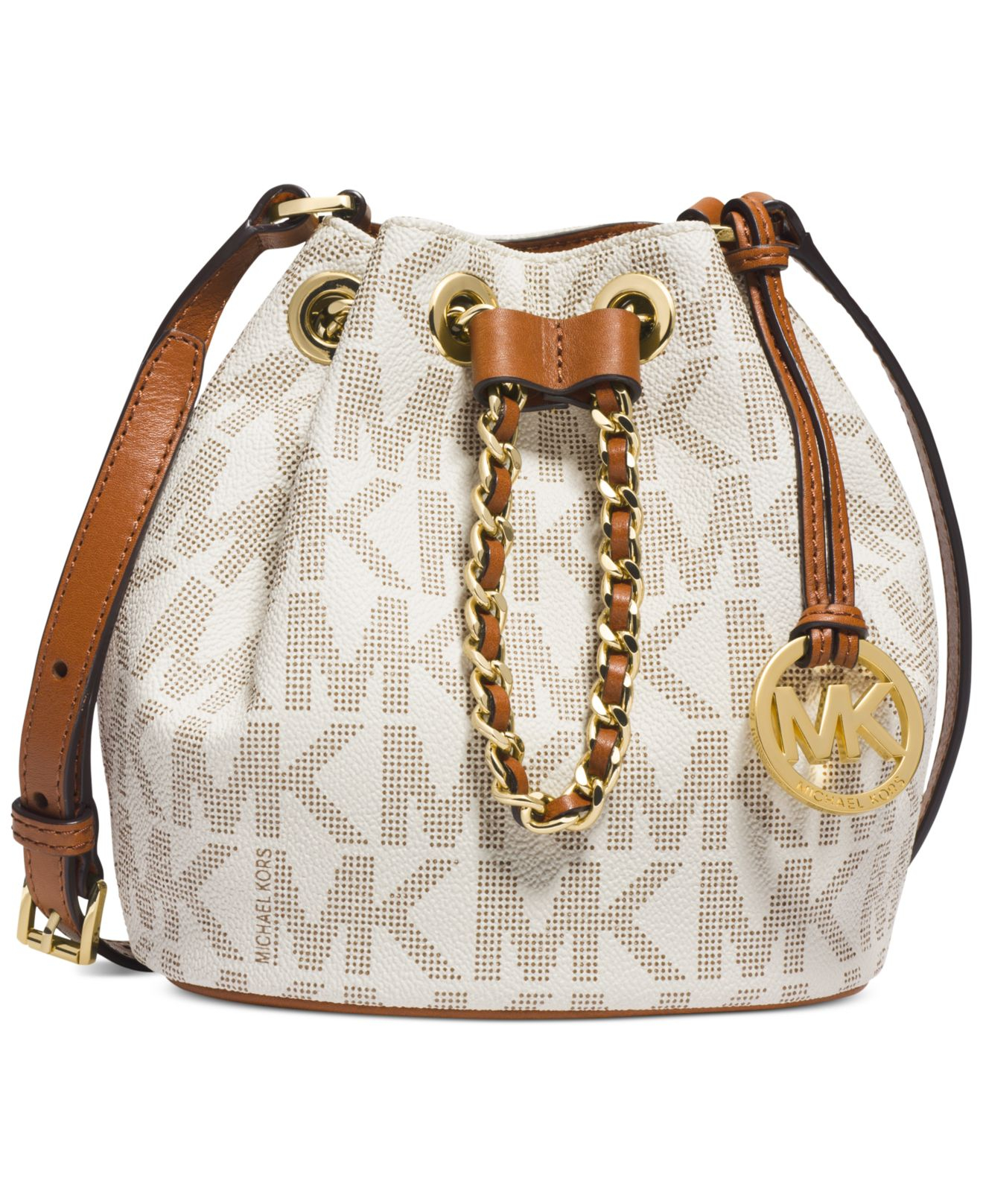 Michael kors Michael Frankie Drawstring Crossbody in White | Lyst