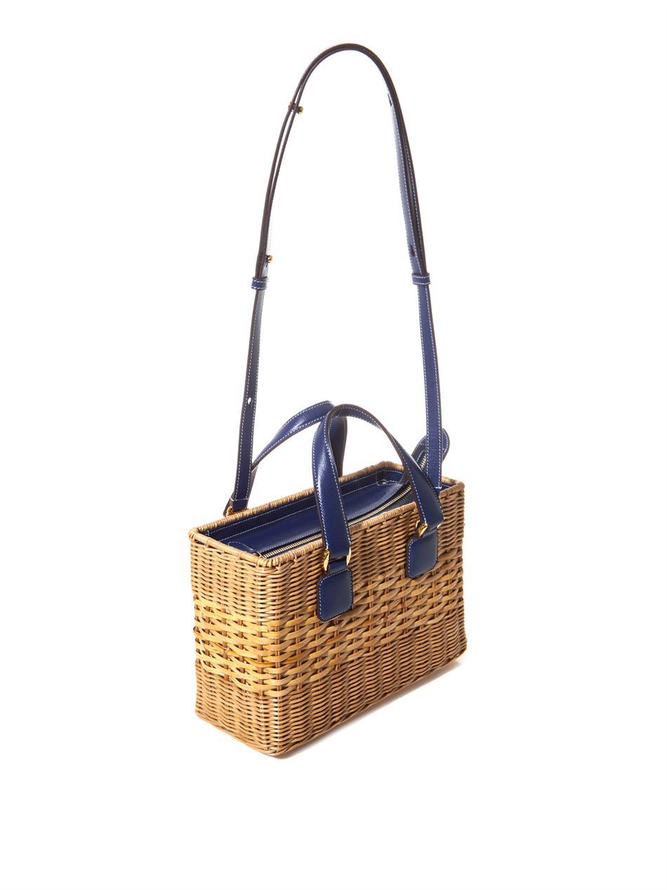 Mark Cross Manray Rattan Wicker Box Bag In Blue Lyst