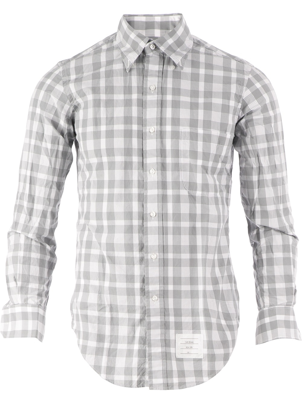 Thom browne Check Shirt in Gray for Men | Lyst