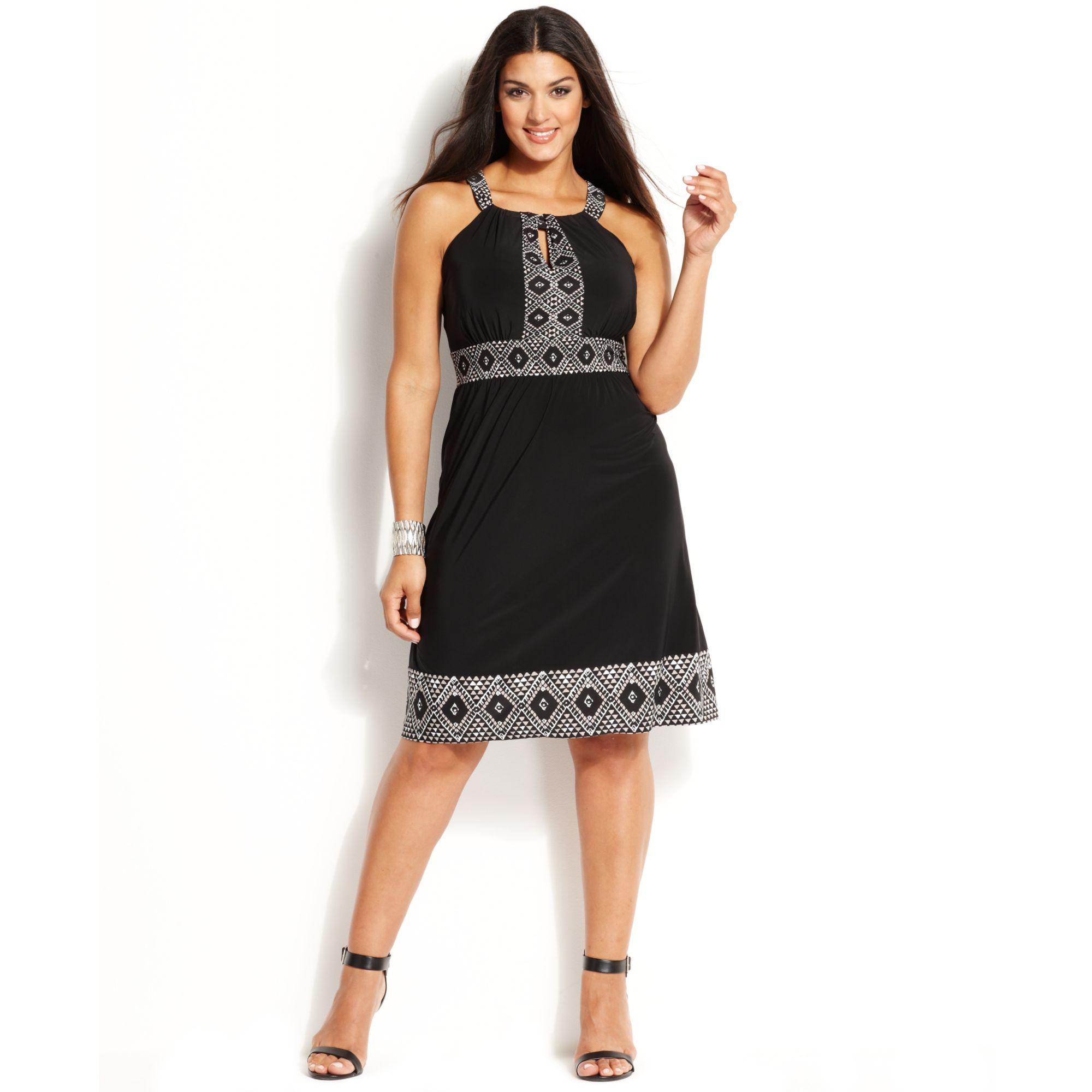 Plus Size Embellished Printed Halter Dress
