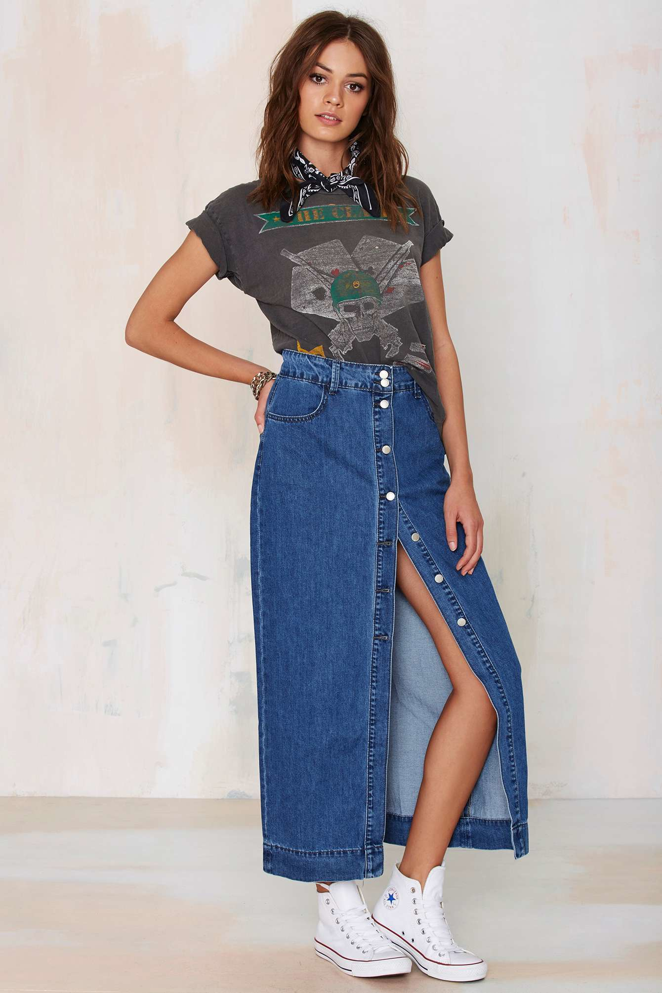 Glamorous Of One Mind Denim Maxi Skirt in Blue | Lyst