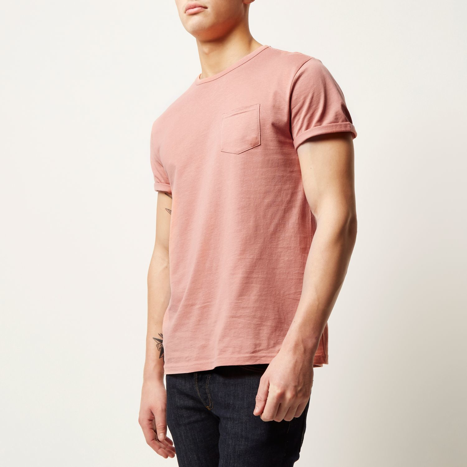 6299e2a97 River Island Salmon Pink Plain Chest Pocket T-shirt in Pink for Men ...