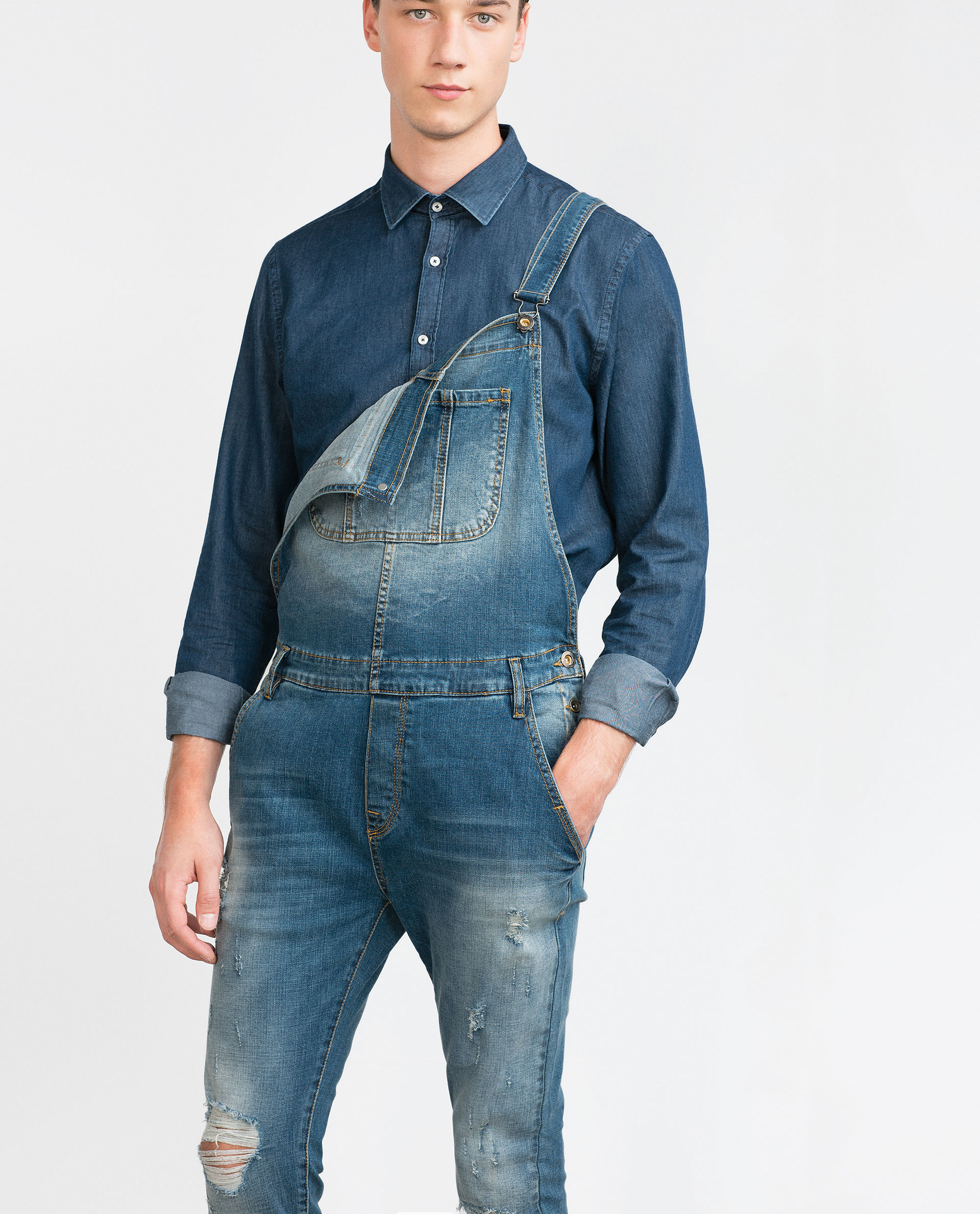 Zara Ripped Denim Dungarees In Blue For Men Lyst