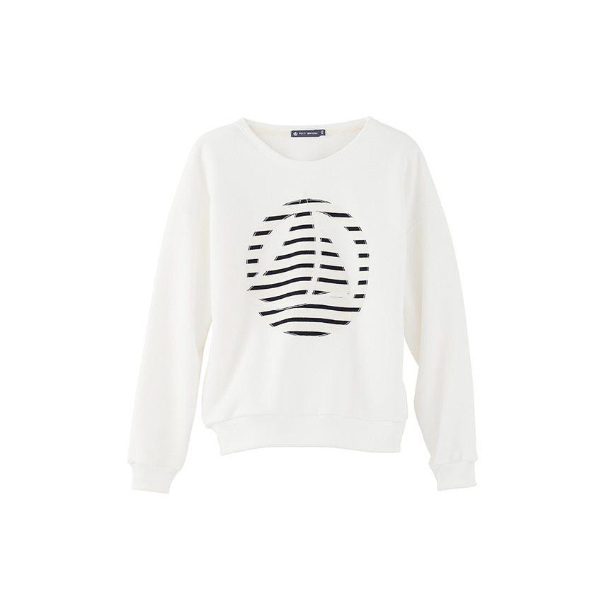petit bateau women 39 s plain brushed fleece sweatshirt with striped logo patch in white lait. Black Bedroom Furniture Sets. Home Design Ideas