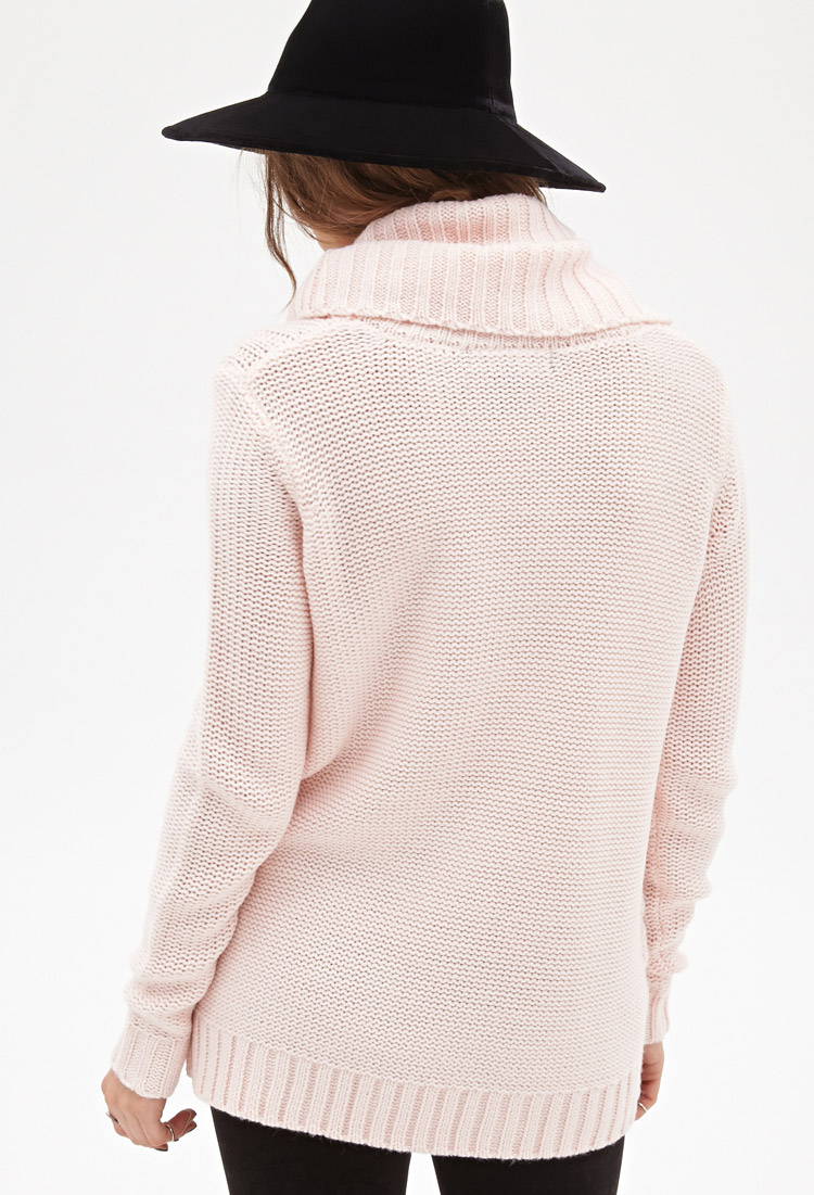 Forever 21 Turtleneck Cable Knit Sweater in Pink | Lyst