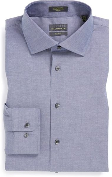 calibrate trim fit non iron stretch cotton dress shirt in