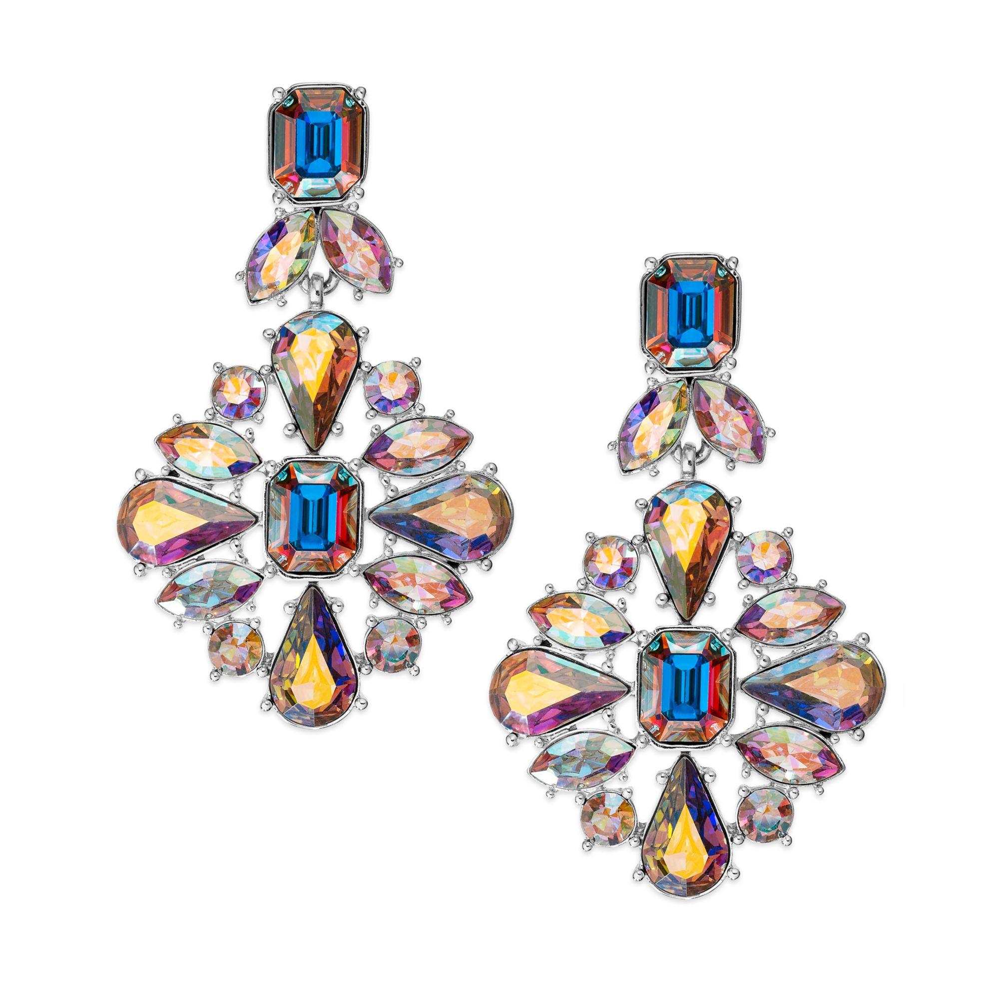 95bd80f3eac89 kate spade new york Metallic Gold-tone Iridescent Glass Stone Chandelier  Earrings