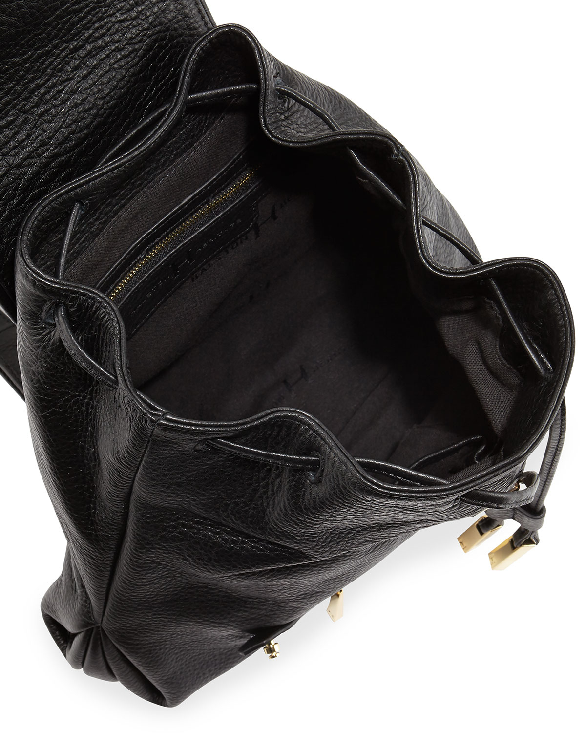 Lyst Halston Leather Flap Top Drawstring Backpack In Black