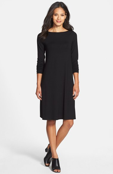 Lyst Eileen Fisher Bateau Neck Jersey Dress In Black