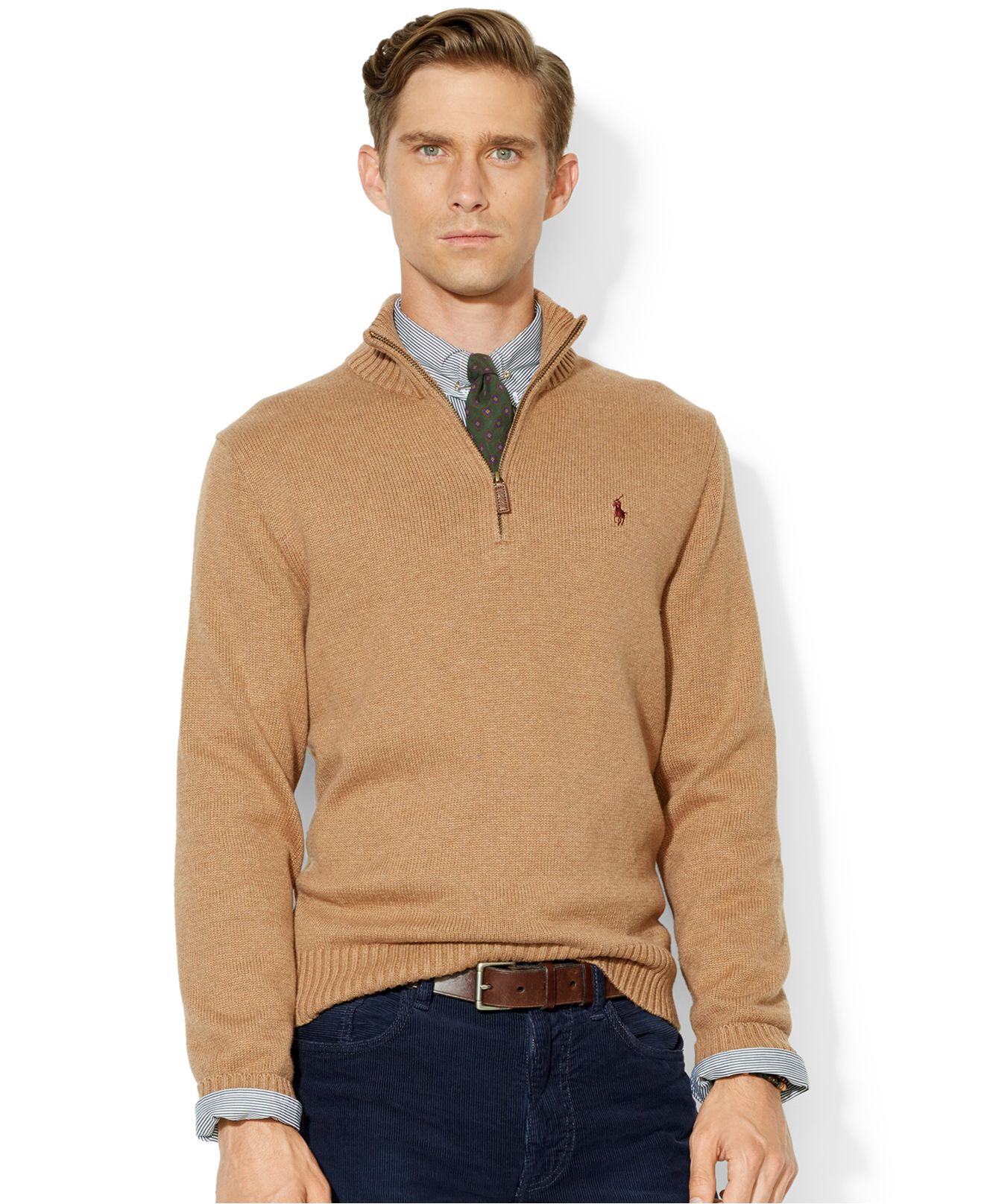 Polo ralph lauren High-Twist Cotton Half-Zip Mockneck Sweater in ...