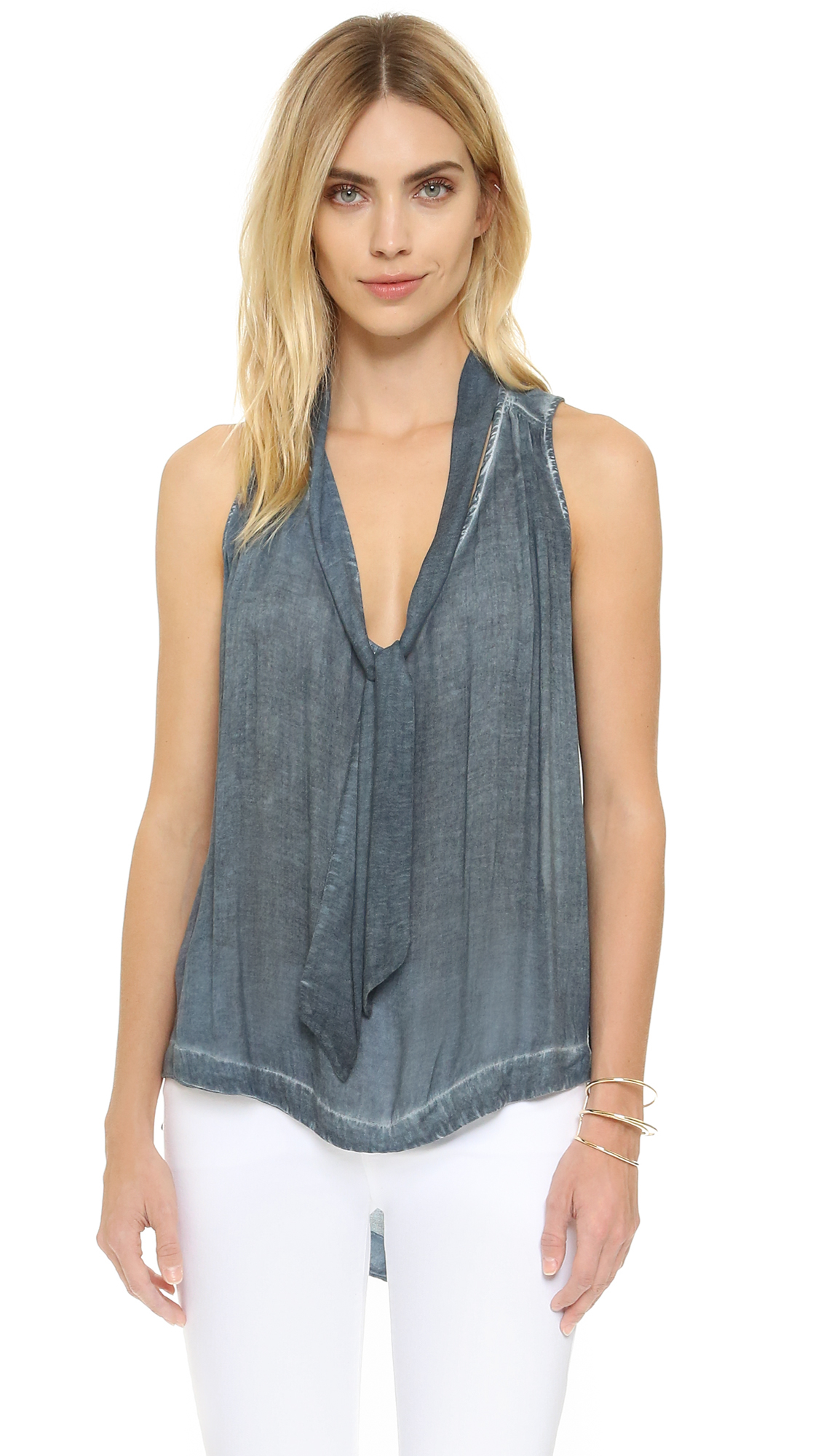 Lyst - Free People Sleeveless Tie Front Top in Blue d83327ece