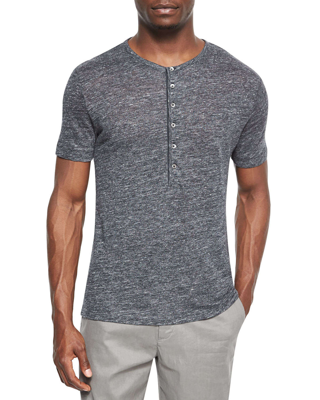 Theory Linen Henley T Shirt In Black For Men Lyst