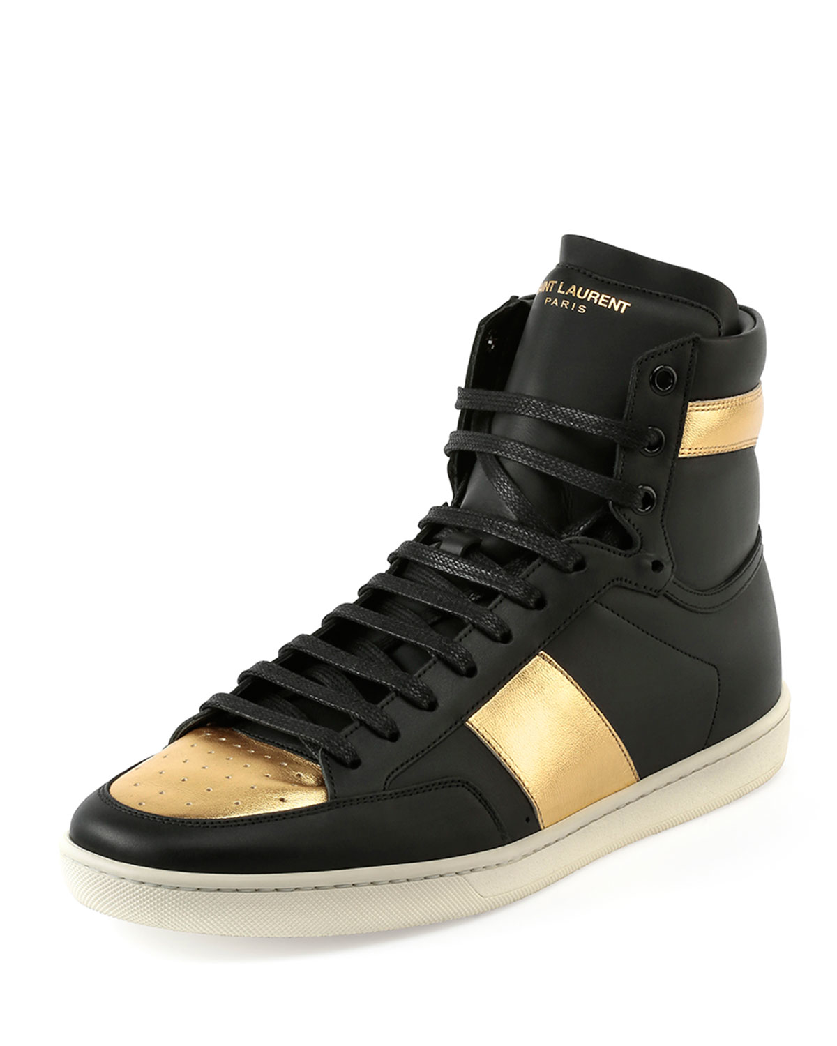 18H Leather High-Top Sneaker in Black