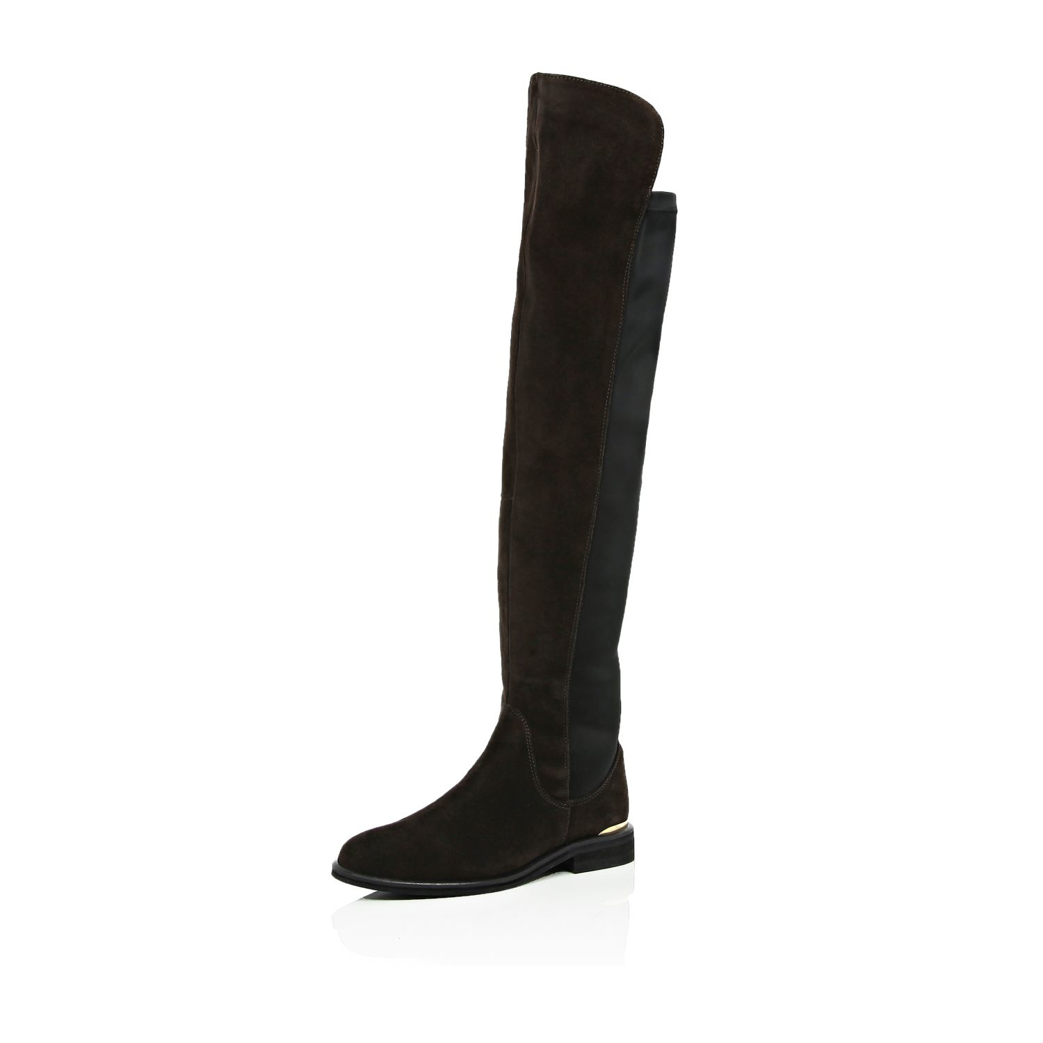 river island brown suede the knee boots in brown