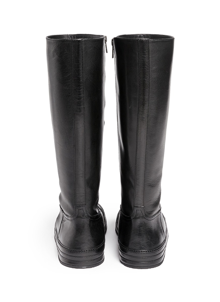 Ann Demeulemeester 'triad' Sneaker Front Leather Knee High Boots in Black