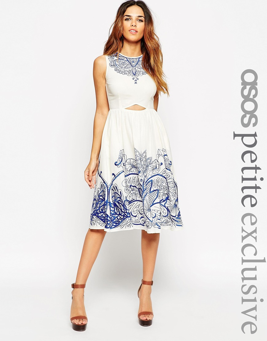 Asos Petite Embroidered Midi Dress With Cut Out In White