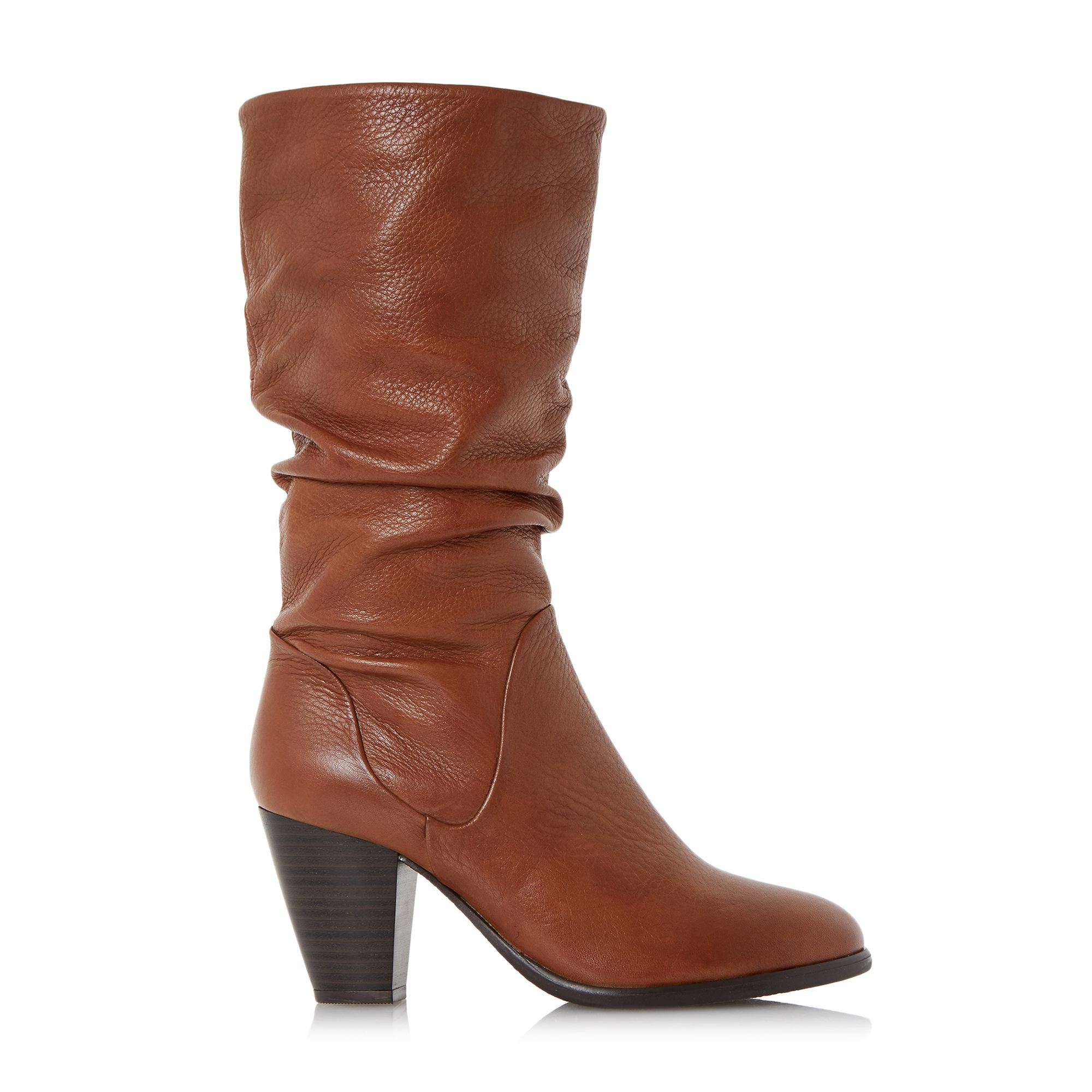 dune rossy slouchy leather pull on calf boots in brown