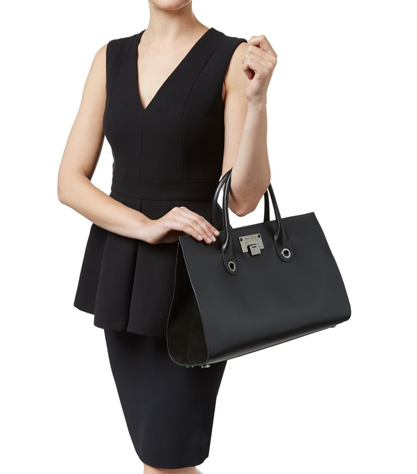 e3b69dcc23 Jimmy Choo Riley Leather And Suede Tote in Black - Lyst