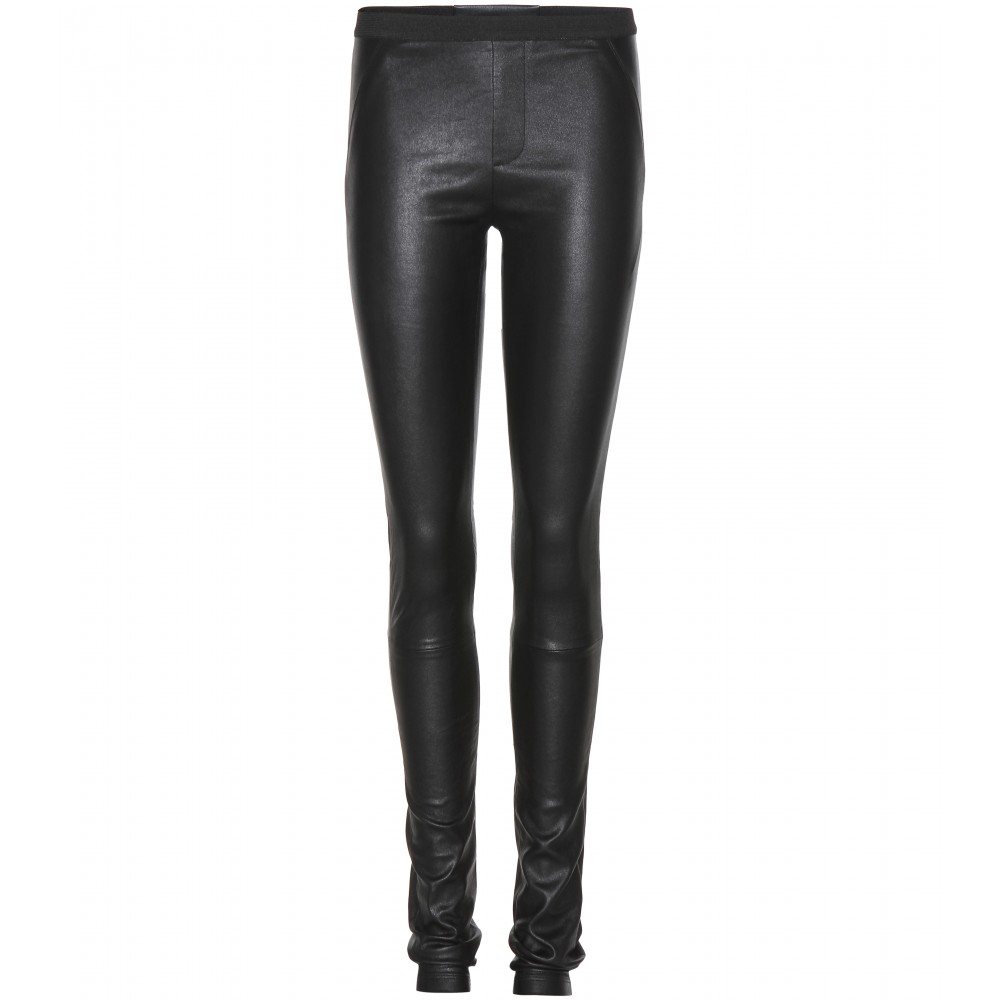 Awesome Black Leather Leggings For Women Women Slim Fit Black Leather