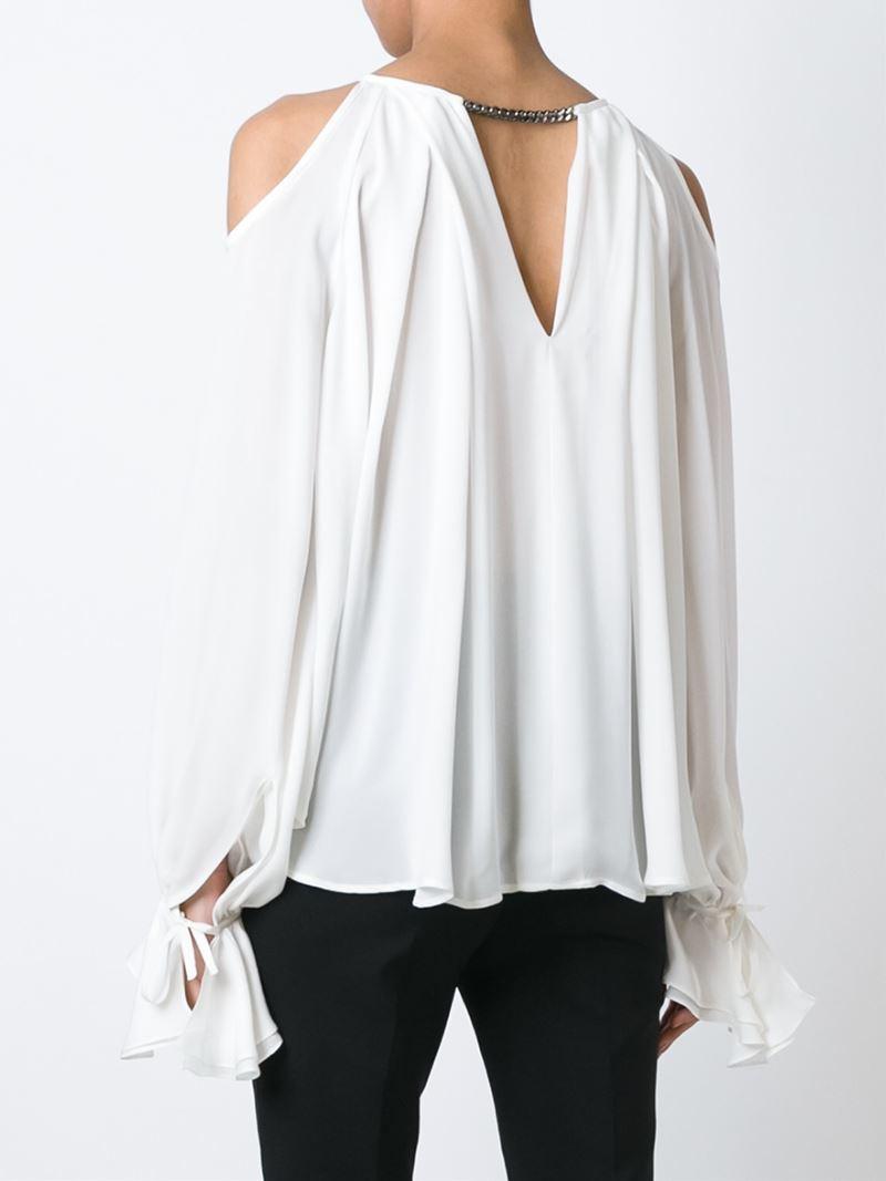 plein sud cold shoulder blouse in white lyst. Black Bedroom Furniture Sets. Home Design Ideas