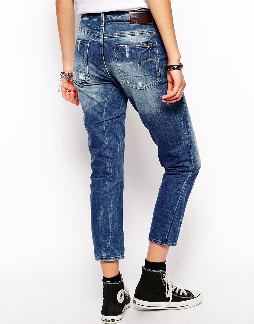 star raw g star 3301 boyfriend jeans in blue lyst. Black Bedroom Furniture Sets. Home Design Ideas