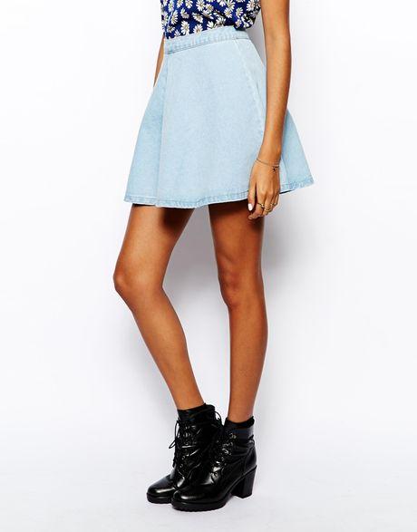 glamorous denim skater skirt in blue lightblue lyst