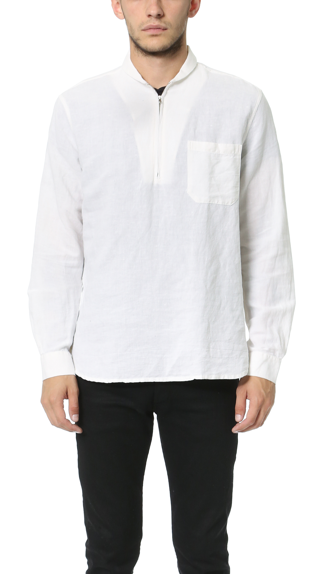 our legacy shawl zip shirt in white for men lyst