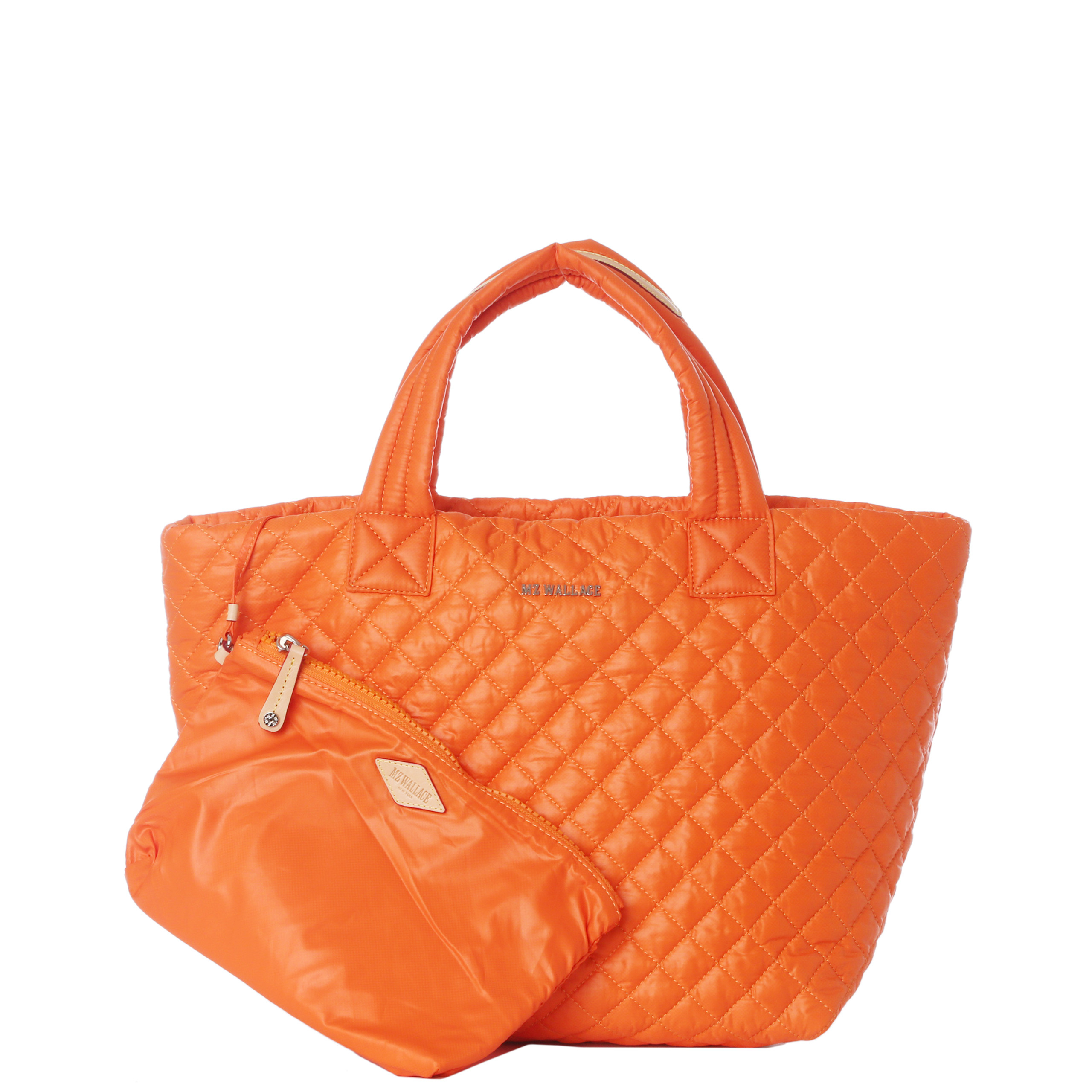 MZ Wallace Tangerine Quilted Oxford Nylon Small Metro Tote in Orange