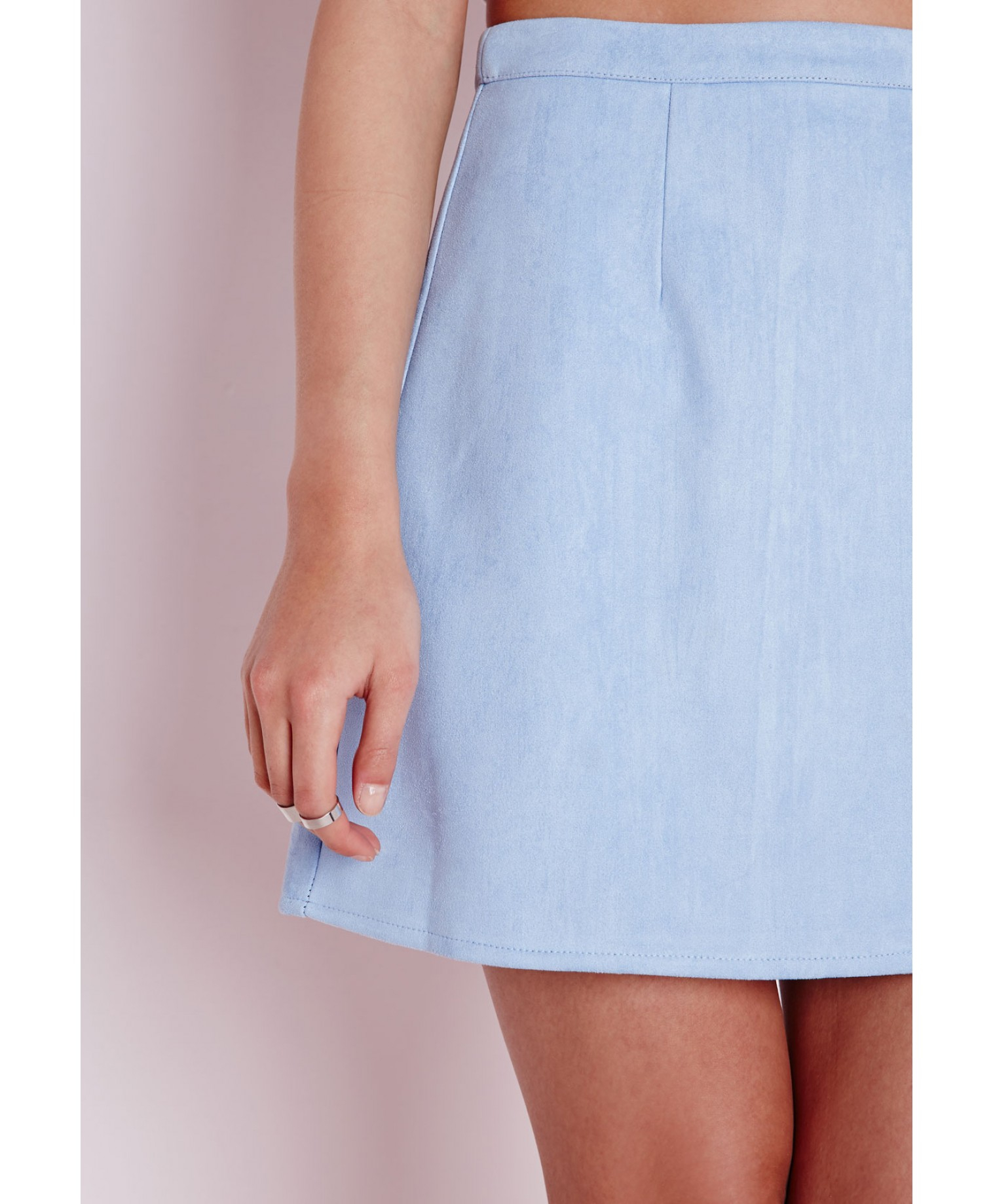 Missguided Faux Suede A Line Skirt Baby Blue in Blue | Lyst