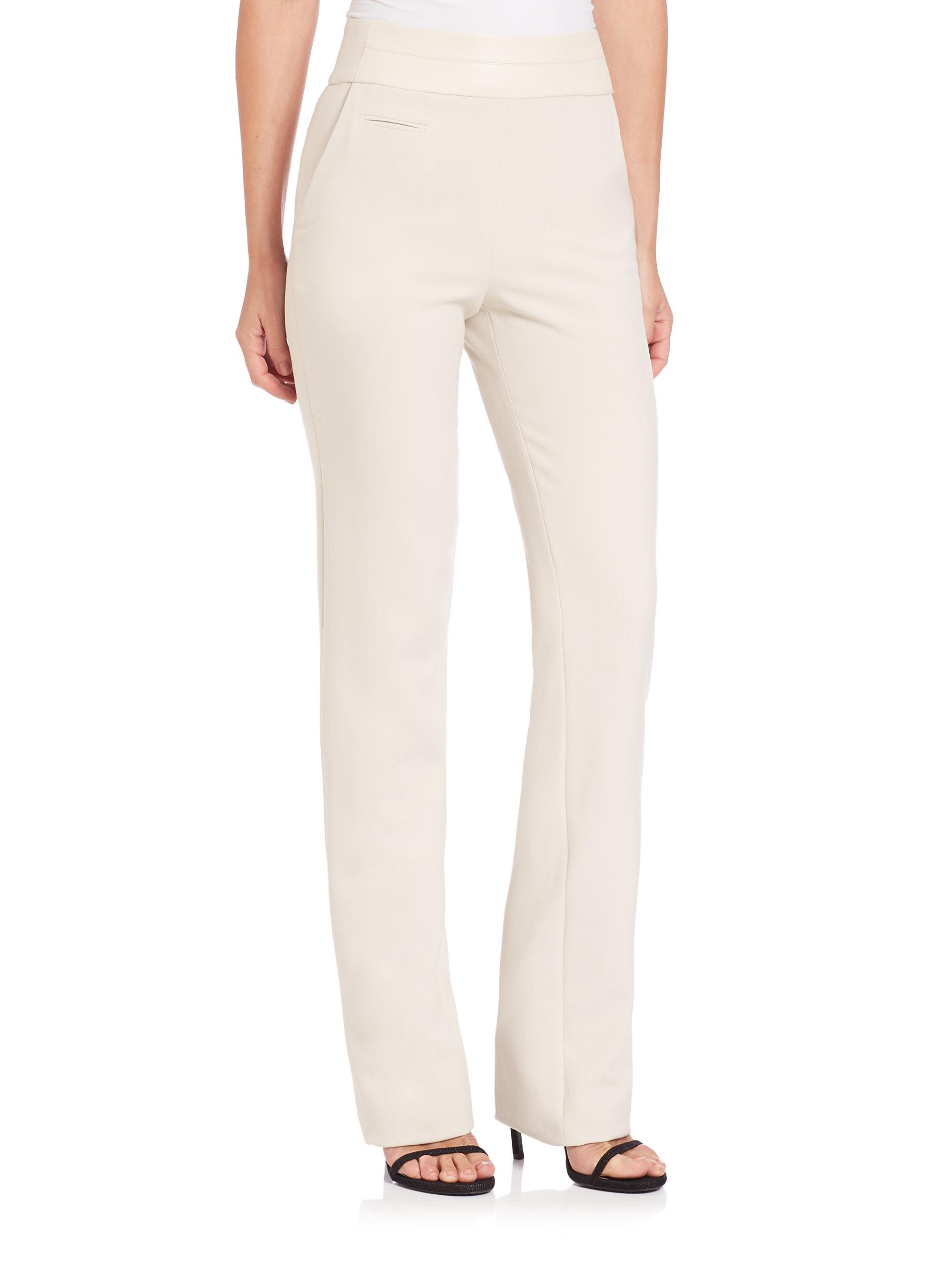 f4b58bf61c4 Lyst - Halston Slim High-waist Bootcut Pants in Natural
