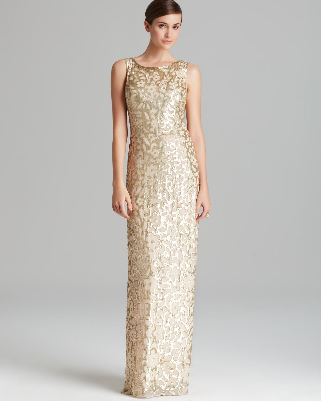Aidan Mattox Column Gown Sleeveless Sequin Patterned In