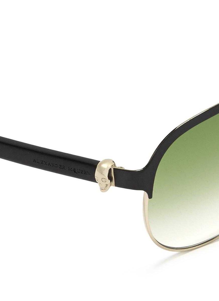 3fefc507f4c2 Lyst - Alexander McQueen Skull Temple Metal Rim Aviator Sunglasses ...
