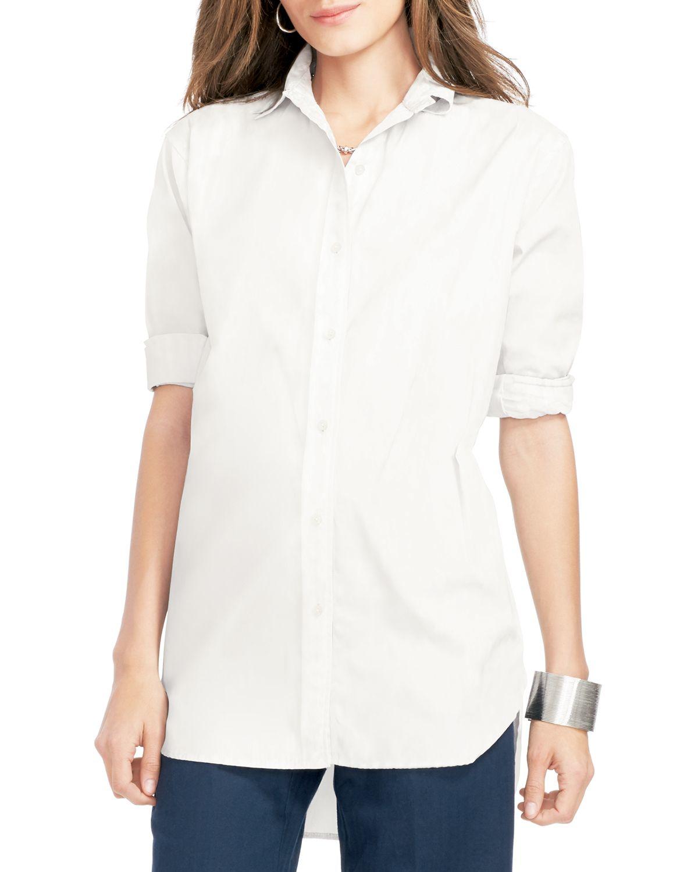 Ralph lauren lauren silk button down shirt in white lyst for Silk button down shirt