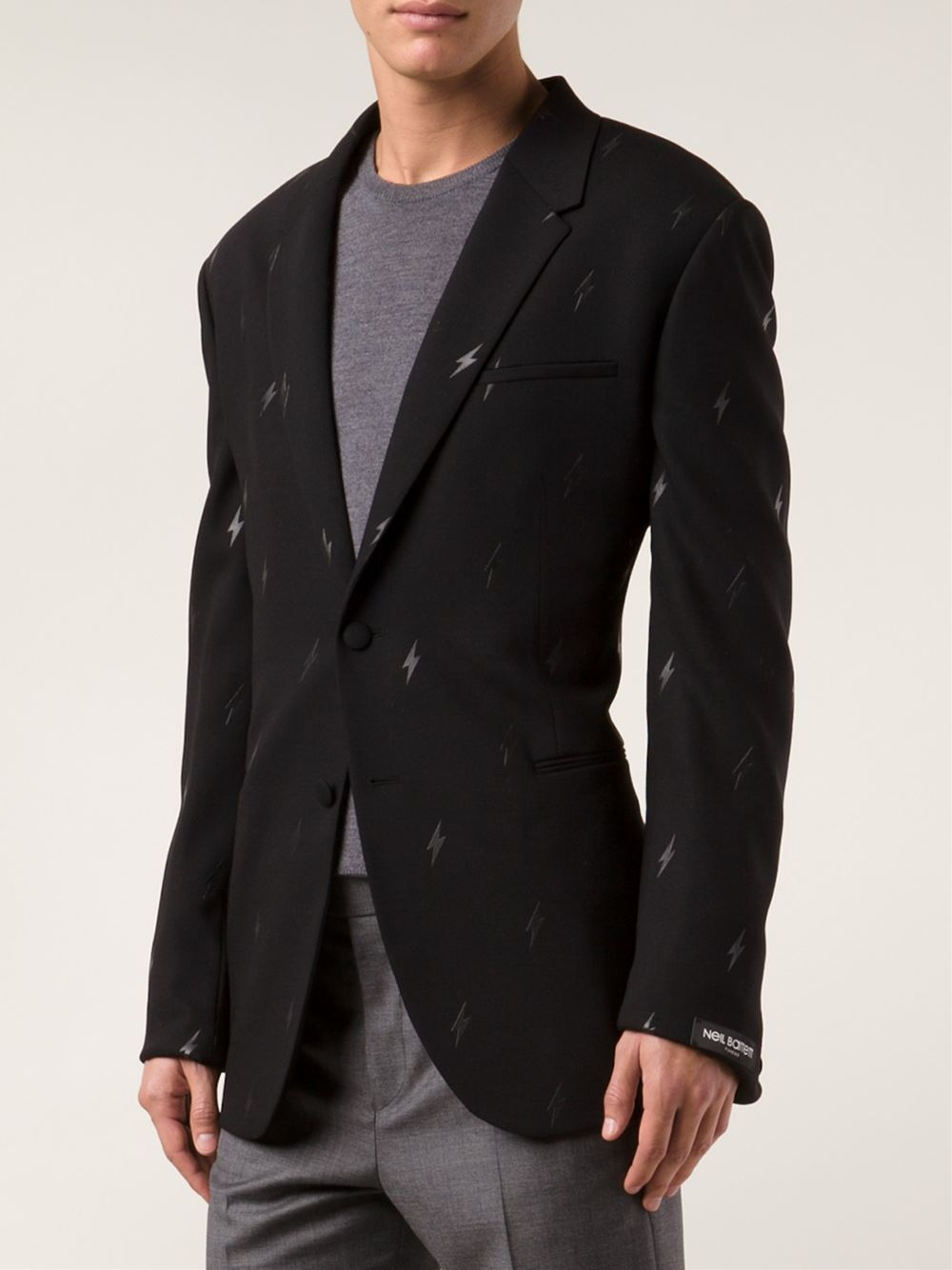 Lighting Jacket: Neil Barrett Lightning Bolt Jacket In Black For Men