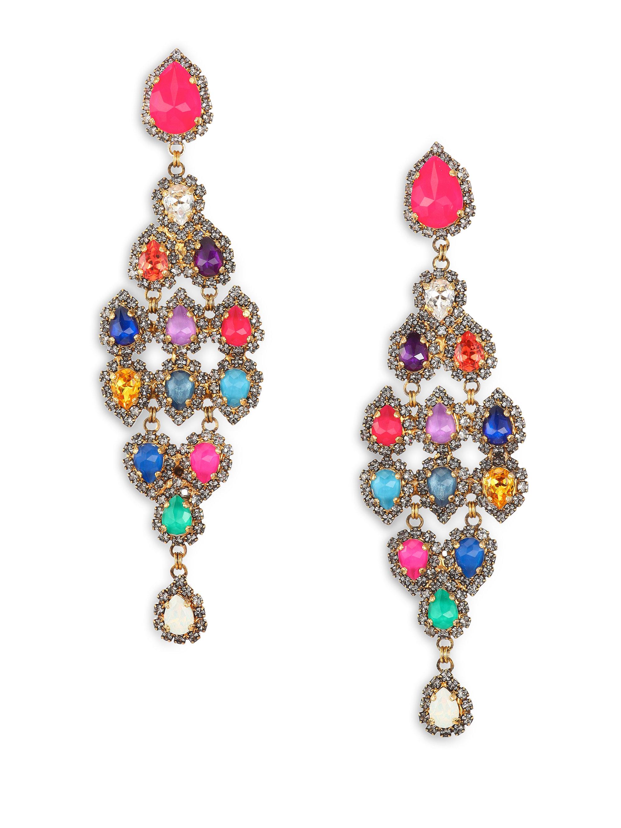 Multi coloured chandelier earrings chandelier designs lyst erickson beamon telepathic crystal pear cascade chandelier arubaitofo Images