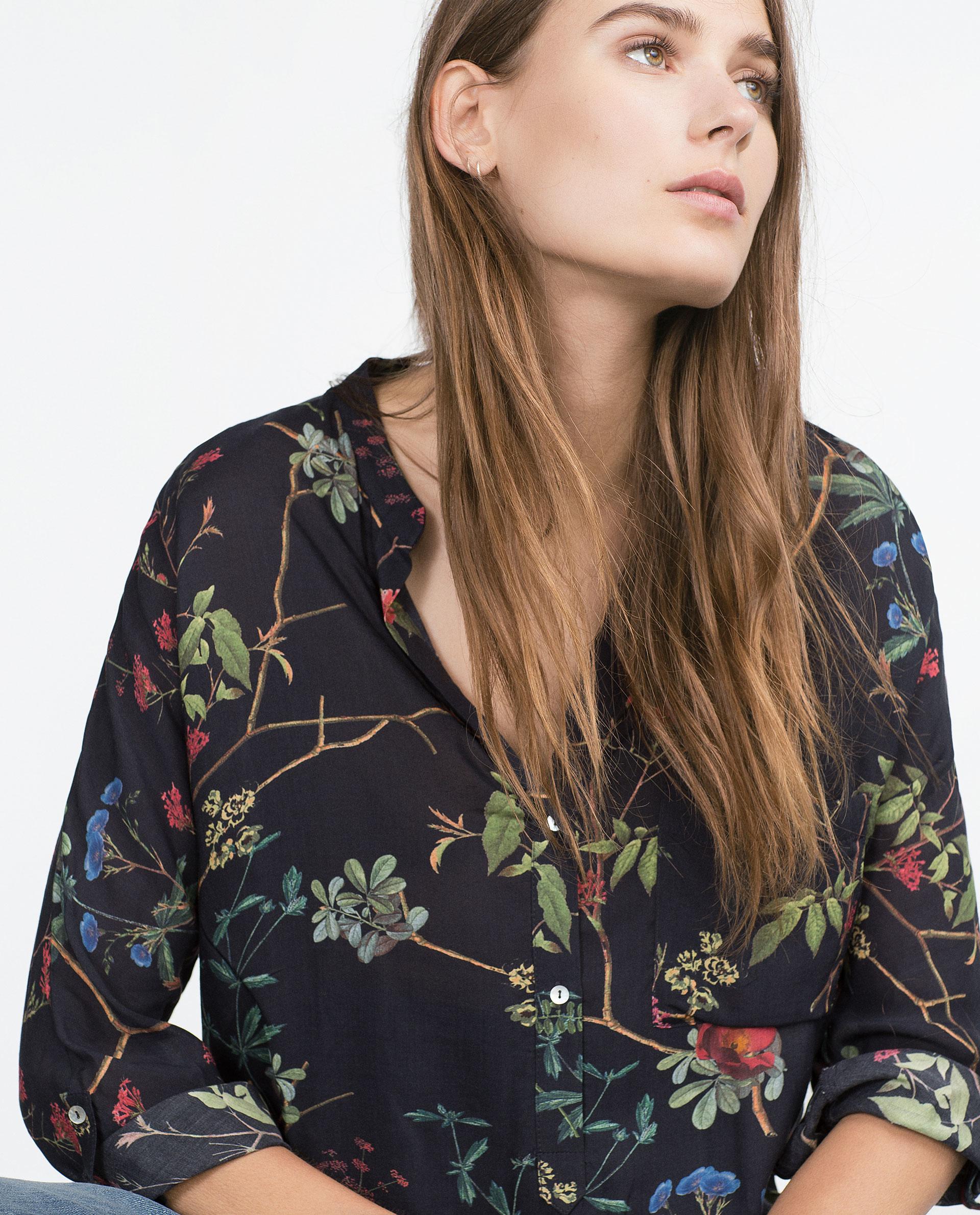 Zara Printed Blouse Ebay 5