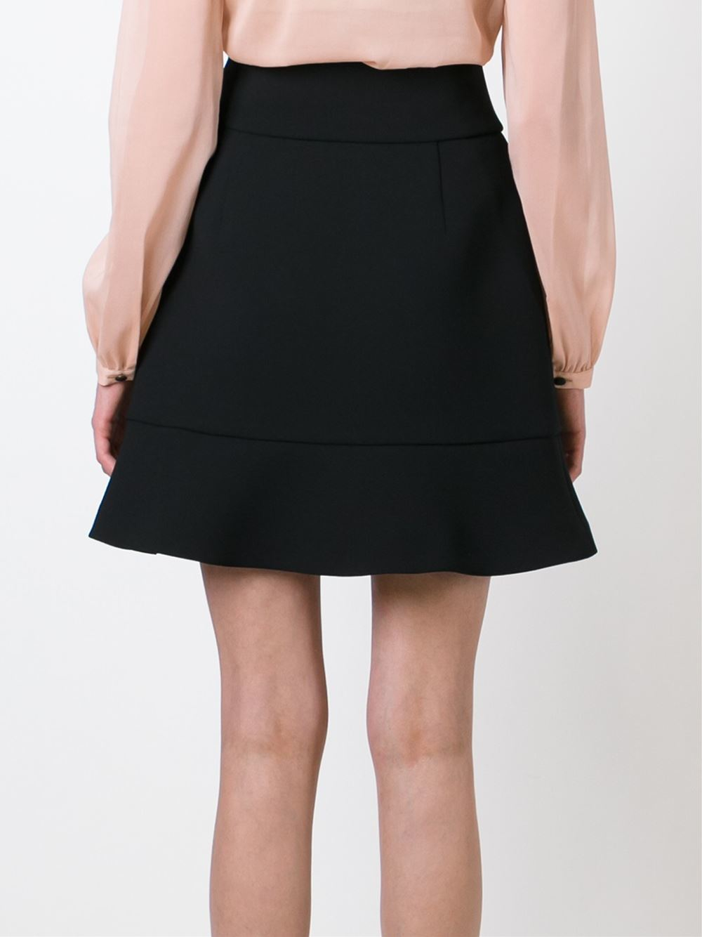 valentino flared hem a line skirt in black lyst